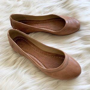 Frye Carson Tan Leather Ballet Flats